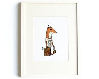Wander Often Wonder Always Road Trip Fox Print - Fox Art, Wanderlust Art, Travel Nursery Art, Wander Often Wonder Always® Art, 8x10 Print