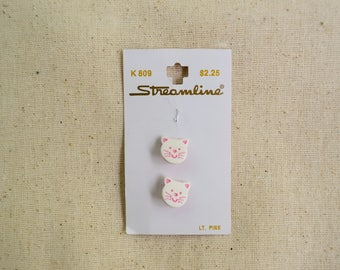 White Cat Shank Buttons - 9/16 inches