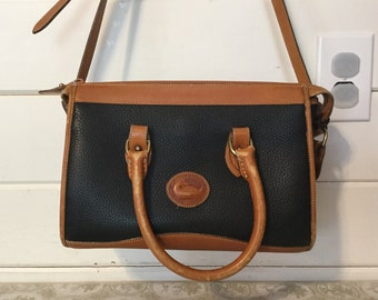 Vintage Dooney and Bourke Leather Purse,Handbag,Navy and Brown