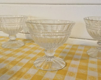 Vintage Crystal Footed Dessert Bowls,Sherbert Dish,Serving ,Set of Four