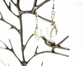 Clear Beach Glass Earrings
