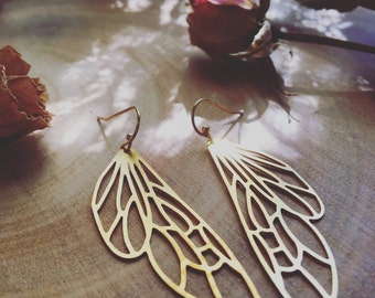 ILLUMINATE a pair of golden metal cicada wing insect long earrings 14kt gold hooks