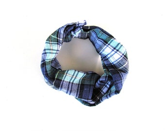 Toddler Infinity Scarf || Plaid Flannel Scarf || Green & Blue Plaid Infinity Scarf || Child Accessory Scarf