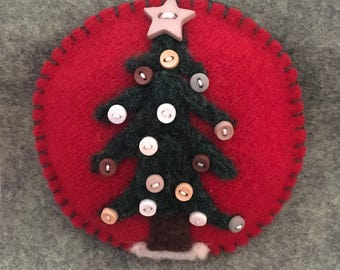 Lovely Needle Felted Christmas Tree With Buttons On Red Felted Wool Fabric
