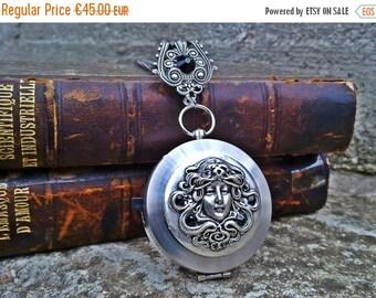 20% OFF Steampunk Compass Locket Pendant Long Chain Necklace Gothic Compass Gothic Pendant Long Pendant Steampunk Jewelry