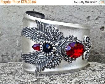20% OFF Silver Gothic Cuff Bracelet Wings Siam Red Swarovski Statement Cuff Steampunk Cuff Gothic Jewelry