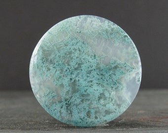 Round Green moss agate cabochon, Semiprecious stone, Jewelry making supplies S7458