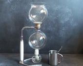 1930s Vintage Pyrex CAFETIERE HELLEM 8-cup Glass Vaccum Coffee Maker with Stand.