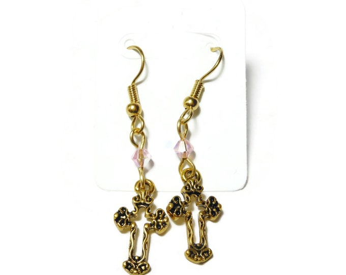 FREE SHIPPING Small cross earrings, gold tone Fleury crosses, gold plated french wires, pink Swarovski crystals, dangle earrings