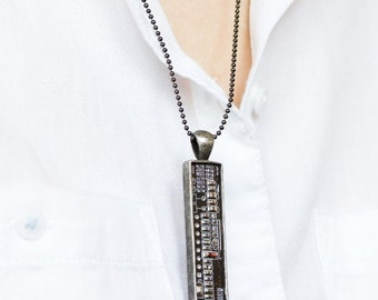 Men's necklace, Circuit board necklace, gift for techie, computer geek, recycled motherboard jewelry