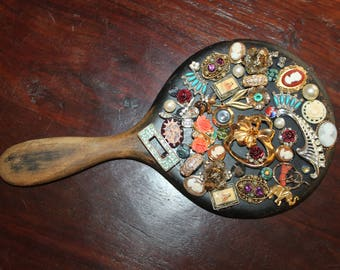Antique Wooden Hand Mirror Covered with Vintage Jewelry