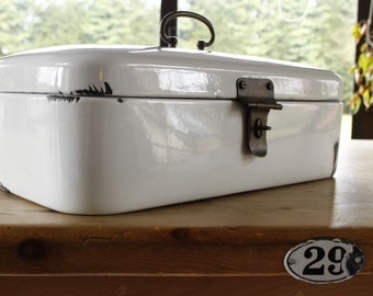 "German Enamel Bread Box....SUPER LARGE 17"" x 8.1/2"" x 6"" White Enamel....Nordic Living....Shabby Chic....Kitchen Storage."
