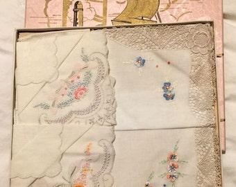 4 Beautiful Vintage Swiss Embroidered Hankies in original Box