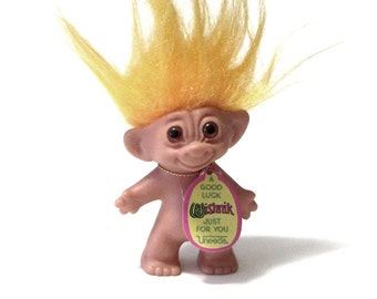 Uneeda Wishnik Troll Orange Hair Original Tag Rub My Hair Collectible Doll Double Horseshoes