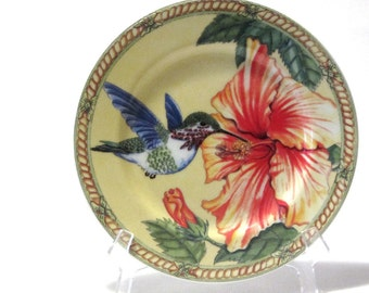 Hummingbird and Red Hibiscus Plate Siddhia Hutchinson Andrea by Sadek Bird Lovers Gifts Under 20