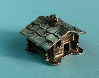 Silver Log Cabin Charm - Vintage Swiss Chalet Bracelet Charm or Pendant