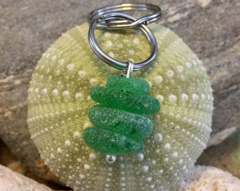 Sea glass jewelry- green sea glass keychain