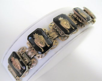 Egyptian Revival Bracelet - Glass Intaglio Reverse - Gold Black -   Wide Book Chain