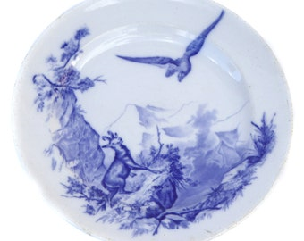 1876 Victorian Blue & White Plate by William Brownfield - Wild Life in The Alps Series - Made in England