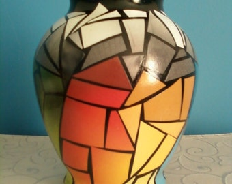Unique Mosaic Spectrum of Color Original Art Vase,  Recycled Materials