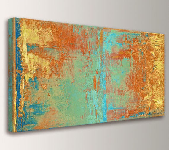 "Large Canvas Art, Loft Art, Wall Art, Modern Art - Oversized Art, Canvas Print - Teal and Orange, Wall Decor - ""Cabo"""