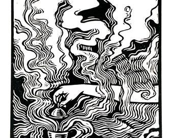 Censer - Linocut on paper - Kathleen Neeley