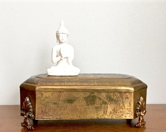 Vintage Brass Box Asian Motif Gold Metal Decorative Lidded Box