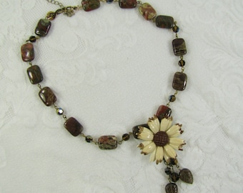 Brown Agate, Quartz, and Crystal Necklace with Vintage Enamel Daisy Flower and Leaf Dangles- Autumn, Fall- Hand made- One of a Kind