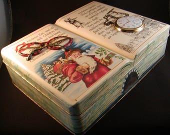 Collectible Vintage Christmas  Tin Book Box Large Deep Silver Crane Company 1995 England