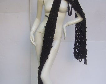 Dramatic Artisan Handmade Black Velvet Knit Scarf