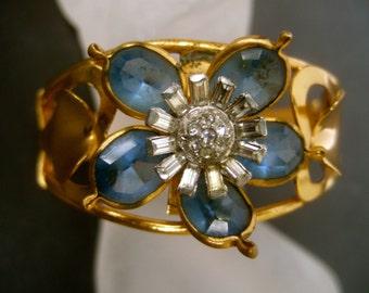 1950s Glass Jeweled Flower Bracelet