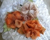 Millinery Flowers Set of Three Shabby Vintage 1950s Fall Color