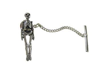 Textured Human Skeleton Tie Tack