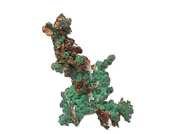 Green Malachite Crystalline druzy on Native Copper Arborescent Form with cuprite and quartz, Sahara African Gemstone