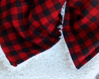 Buffalo Check Minky Blanket, Buffalo Plaid Minky Blanket, Plush Blanket, Llama Minky Blanket