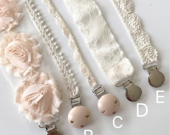 Pacifier Clips YOU CHOOSE Blush pink, Nudes, Creams, Rosette and Lace / Newborn Gift/ Baby Girl Shower Gift/ BAPTISM Baby Girl/ Christening