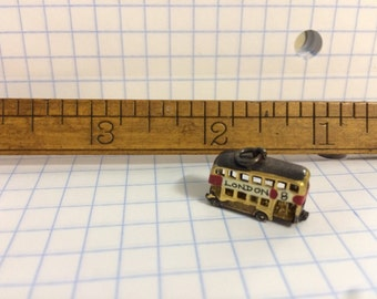 Miniature London Double Decker Bus Charm with Glass Window Very Special