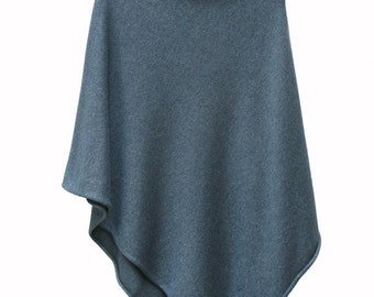 Pacific (teal blue) 3 ply Cashmere and Silk Poncho