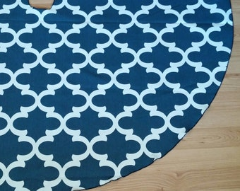 "Navy Quatrefoil 55"" Tree Skirt - FREE Shipping, Made in USA, Cotton Holiday Decor"