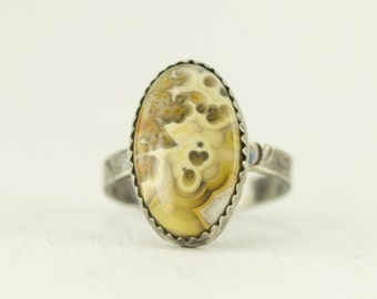 Crazy Lace Agate Sterling Ring - Oval Yellow Agate Ring - Ready to Ship Size 7.5 - Sample Sale