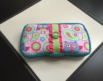 Boutique Diaper Wipes Case Owl Hot Pink Turquoise Lime Pink Floral Paisley Diaper Bag