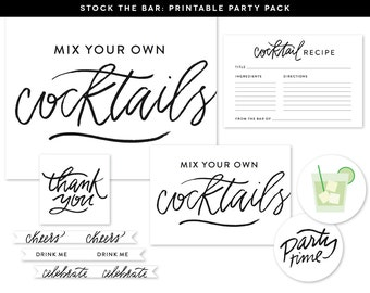 Printable Stock the Bar Party Pack, Couples Shower Party Printables, Stock the Bar Signage, Couples Shower Party Decor