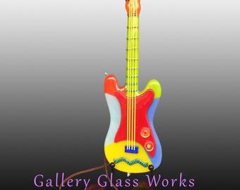 Multicolor Glass Guitar,  fused glass