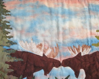 Moose to Moose Art Quilt/Wall Hanging
