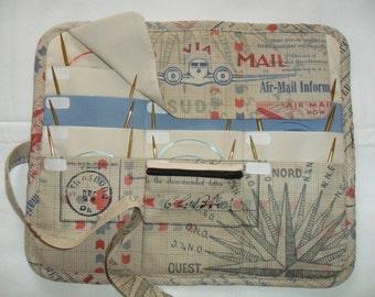 CIRCULAR knitting needle organizer case storage holder, holds 12 circular needles Air Mail Print fabric