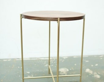 FREE SHIPPING Side Table - Solid Walnut and Brass Base
