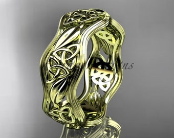 14kt yellow gold celtic trinity knot wedding band, engagement ring CT7510G