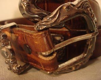 Boho 1980s Vintage Brown Distressed Ornate Buckle and Detail Belt