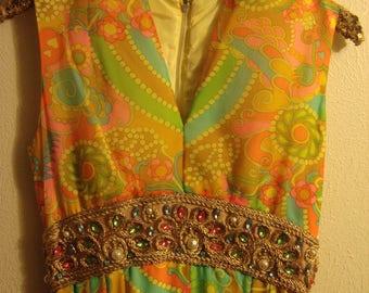 Vintage Boho 1970's Embellished Floral Psychedelic Maxi Dress