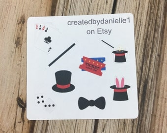 Magic Show Planner Stickers Sampler, Magician Stickers, Stickers for Magic Show, Magician Planner Stickers set of 8